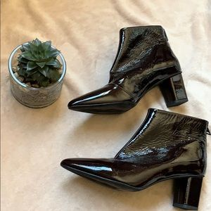 H&M burgundy patent leather ankle boots